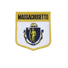 MASSACHUSETTS USA STATE SHIELD FLAG EMBROIDERED IRON-ON PATCH CREST BADGE .. NEW