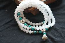 6mm 108 White Chalcedony with Green Turquoise Buddha Prayer Beads Uk