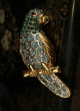 Vintage Parrot Brooch with Turmaline Green Crystal  and Turquoise body