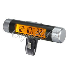 Car Bicycle LCD Clip-on Digital Orange Backlight Auto Thermometer Clock Calendar