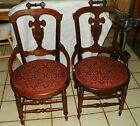 Pair of Solid Walnut Carved Sidechairs / Dinette Chairs  (SC139)