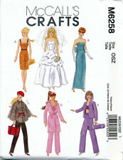 MCCALL'S SEWING PATTERN 6258 BARBIE/FASHION DOLL CLOTHES, EVENING DRESSES, PANTS