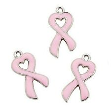 Pink Ribbon Charms Heart Breast Cancer Awareness Jewelry Lot of 36