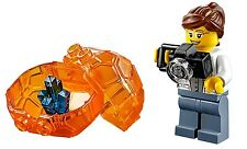 LEGO CITY VOLCANO SCIENTIST MINIFIGURE Female w/ Lava Rock Crystal AUTHENTIC NEW