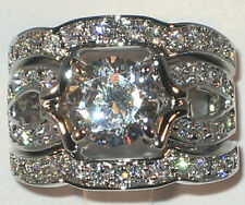 Majestic Antique 3.20 CT Cubic Zirconia Platinum Bridal Wedding Ring Set- SIZE 8