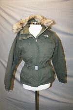 The North Face Womens Army Green Down Fur Winter Coat SZ SM