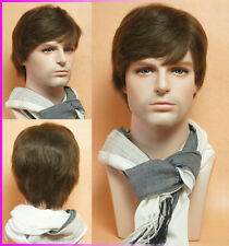 Short fashion handsome dark brown 100% human hair full wig wigs toupee for men