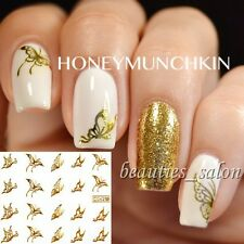 1 Sheet Nail Art Water Decals Transfers Sticker Gold Butterfly Design C042