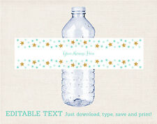 Twinkle Little Star Mint Green & Gold Water Bottle Labels Printable Editable PDF