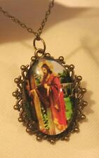 Lovely Lacy Rim Brasstn Jesus Behold I Stand At The Door & Knock Pendant Necklac