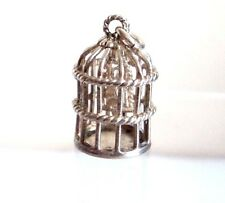 Vintage in Sterling Silver Charm Whimsical Uccello in una gabbia MOBILE 3,67 G