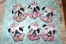 Vintage Folk Art English Bulldog Dog Girl Whimsical Ornament Lot Ooak Outsider