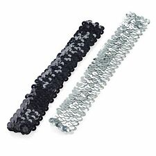 Pair of Black and Silver Sequin Covered Elasticated Headbands Forehead Hair Band