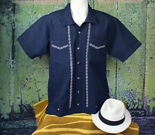 Blue & Gold Men's Guayabera Latin American Shirt Cotton, made in Mexico Casual