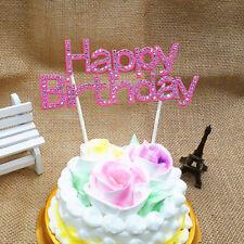Rhinestone Happy Birthday Cake Topper Crystal Birthday Party Flower Pick 15cm FG