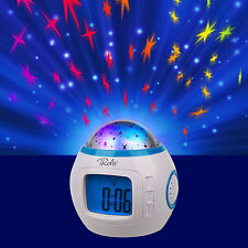 Music Starry LED Projection Digital Alarm Clock Thermometer Calendar Kid's Home