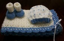 NEW Handmade Crochet Baby Blanket Afghan set ( white blue )