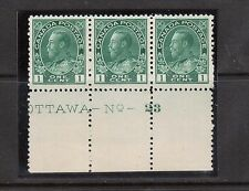 Canada #104b XF/NH Plate #23 Strip Of Three