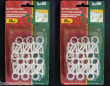 2 Packs x 24 Christmas Rope Light Gutter Hooks / Clips