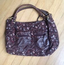 Maurices hand bag purse corduroy floral print lots of pockets brown red boho