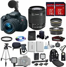 Canon Rebel T5i Value Video Bundle+18-55mm STM+Mini Video Light+W/A +Tele+EXTRAS
