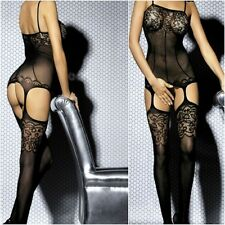 79400 - Black open gusset suspender style body stocking bodysuit & thong 10/12