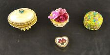 Lot of 4 Vintage Vanity Pieces Real Egg Trinket Jewelry Box Chapstick Bead p3g17