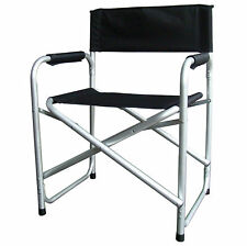 Black Lightweight Folding Directors Chair W/ Padded Arms Camping Fishing Garden