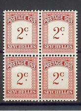 Seychelles Islands 1951 Sc# J1 postage due block 4 MNH British colony