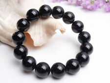 AAA Natural Brazil Black Tourmaline Crystal loose beads Bracelet 14mm