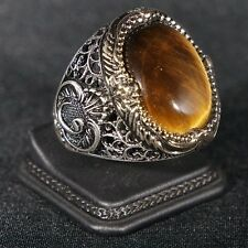 Turkish Handmade Ottoman 925K Sterling Silver Tiger Eye Men's Ring Size 11.5