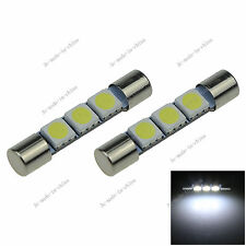2X Xenon White 3 SMD 5050 LED 32mm Bulb For Car Sun Visor Fuse Lights 12V I402