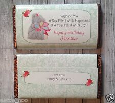 PERSONALISED Teddy  CHOCOLATE BAR WRAPPER fits Galaxy 114g Birthday Easter