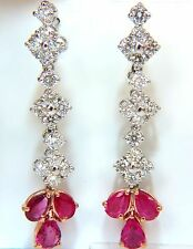 $12000 5.94CT NATURAL RED NO HEAT RUBY DIAMOND DANGLE EARRINGS 14KT UNHEATED