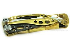 "Leatherman Skeletool Multi-Tool, ""Shogun Edition"" with Damascus Blade and Gold"