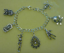 **Handcrafted Gothic Pagan Rock Punk Style 7 Charm Silver Plated Bracelet**