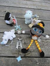 6 Lot - Small Plush Halloween Cat, hippo, Precious Moments, TY Loosy & Windchime