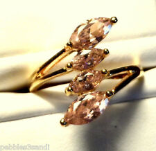 New 10K GOLD Plated Pink Quartz Ring sz 7.5 4 Marquise Cut stones band setting