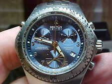 NICE MANS SECTOR CHRONOGRAPH WATCH MODEL 975 BLUE DIAL ALL S/S NICE SWISS