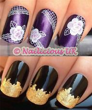 NAIL ART SET #257. LACE PURPLE FLOWER WATER TRANSFERS/DECAL/STICKERS & GOLD LEAF