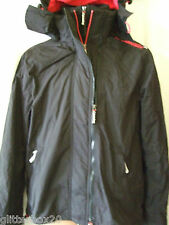 NEW £75 MENS SUPERDRY MEDIUM POP ZIP HOODED ARCTIC WINDCHEATER BLACK & RICH RED
