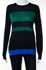 Proenza Schouler Navy Blue Green Wool Striped Sweater Size Medium New 108936