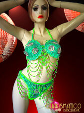 CHARISMATICO Neon green sequin and beaded GoGo bra with matching thong