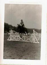 Vintage Antique Photograph Man On Horse Jumping Over Fence At Horse Show