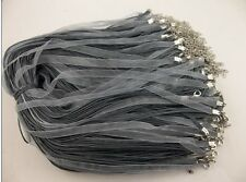 50pcs gray Organza Ribbon Necklace Silk Cord Clasp charms pendant 420 mm