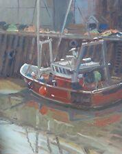 ORIGINAL MICHAEL RICHARDSON Shady Mooring Trawler ship fishing boat OIL PAINTING