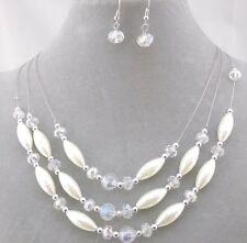 Layered White Tear Pearl  Clear and Silver Bead Necklace  Earrings set NEW