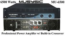MUSYSIC 2 Channel 6500W Professional DJ PA Power Amplifier W/ Build-in Crossover