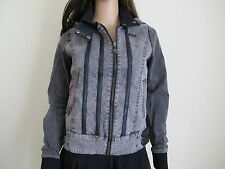 """Iron Fist"" New Women's Mariyln Denim&PU Jacket Grey/Black Size UK8/36 - £85!!"