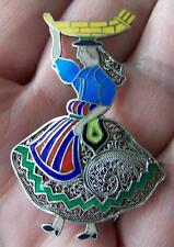 VINTAGE TOPAZIO PORTUGAL SILVER FILIGREE ENAMEL PIN BROOCH LADY w/ TRAY ON HEAD